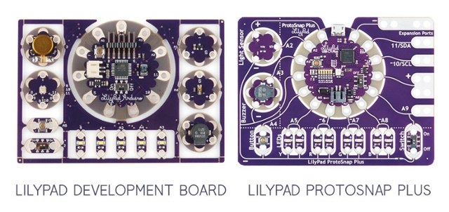Labeled side-by-side comparison of LilyPad Development Board and LilyPad ProtoSnap Plus