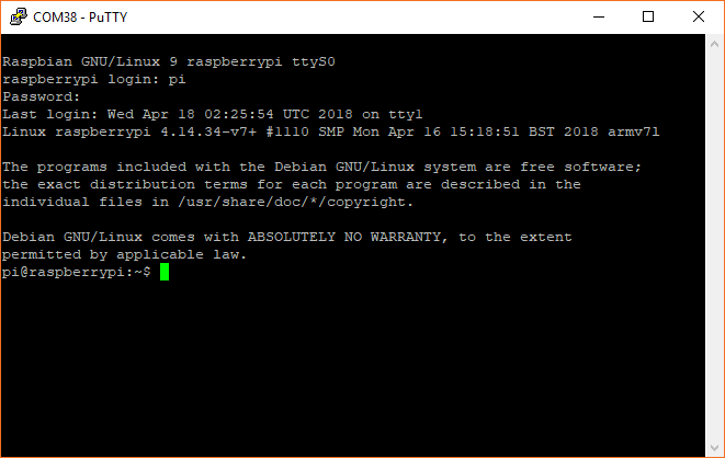 Serial terminal showing command prompt for Raspberry Pi