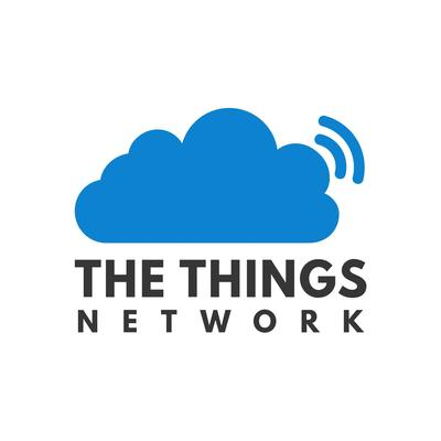 The Things Network logo. A blue cloud radiating blue half circles.