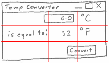 GUI design sketch with a 3x3 grid overlay