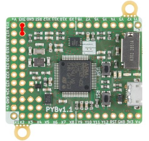 pyboard with jumper from 3.3V to DFU pin