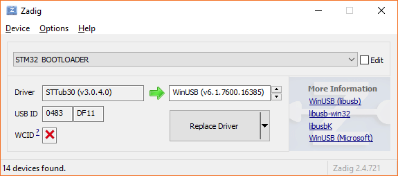 Zadig Windows USB driver utility