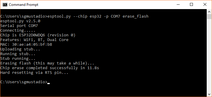 Erasing flash on the ESP32