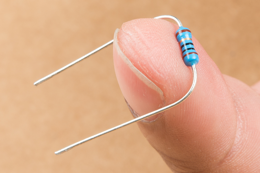 Photo of resistor being bent over