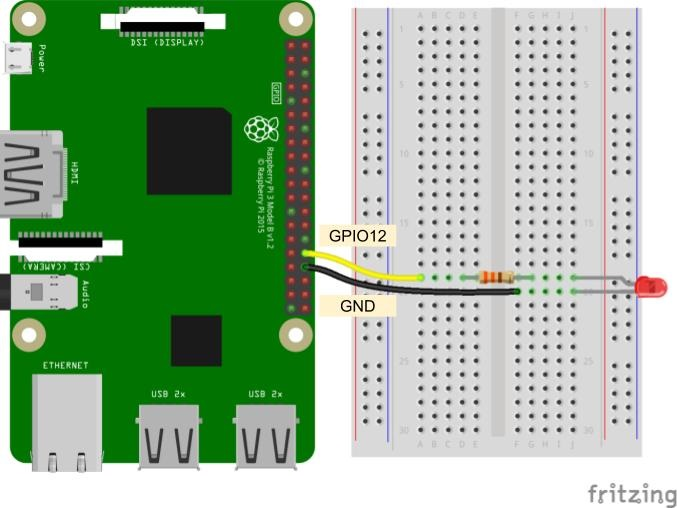 LED connected to Raspberry Pi Fritzing diagram