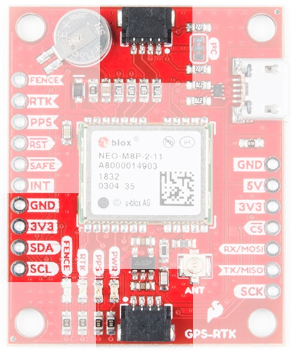 I2C Ports on the GPS RTK Evaluation Board