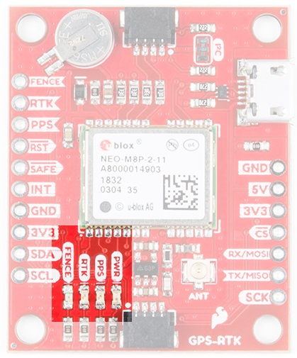 LEDs on the SparkFun NEO-M8P eval board