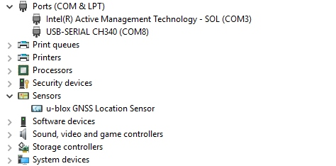 NEO-M8 module seen as location sensor in device manager