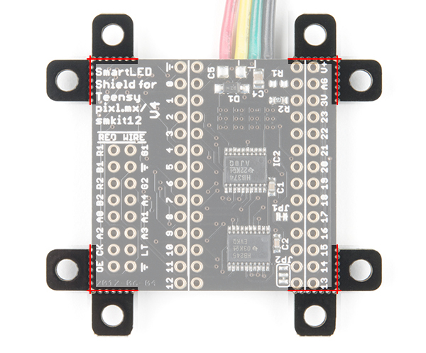 Mousebites highlighted on the SmartLED Shield