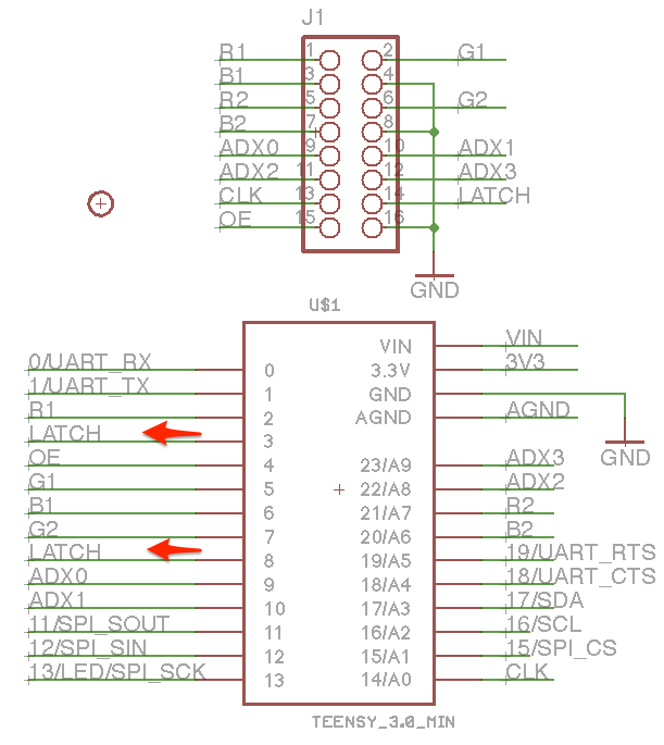 Schematic Reserved Pins for Manually Connecting Teensy and Panel