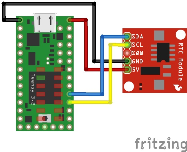 Fritzing Diagram of DS1307 RTC Module and Teensy for SmartLED Shield