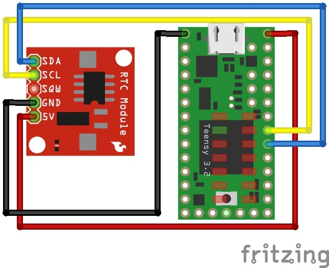 Fritzing Diagram of DS1307 RTC Module and Teensy