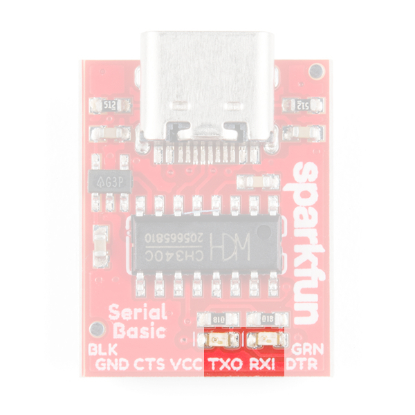 An image of the Serial Basic with the RX and TX LEDs highlighted.