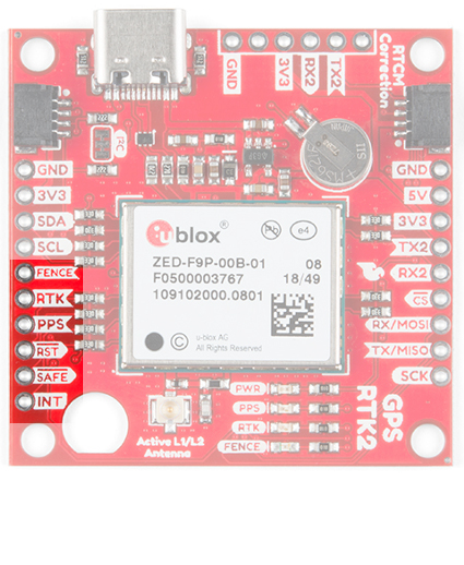 Highlighted control pins of the SparkFun GPS-RTK2