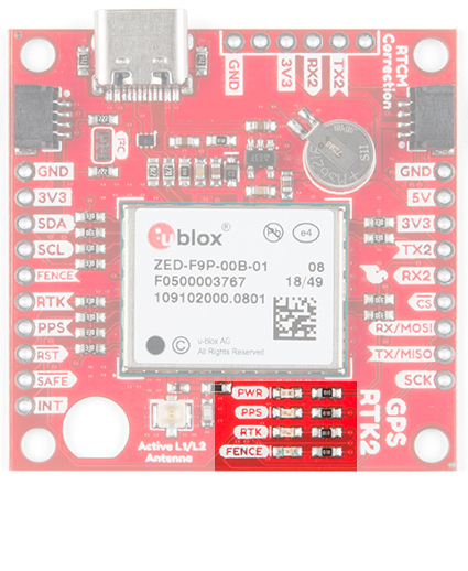 SparkFun GPS-RTK2 LEDs