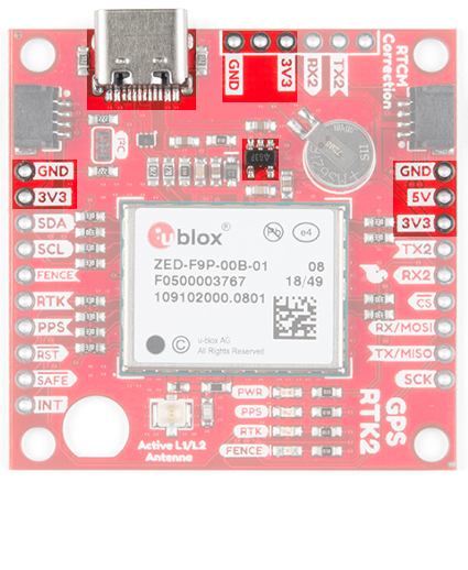 The USB port and power highlighted on the GPS-RTK2 ZED-F9P breakout board