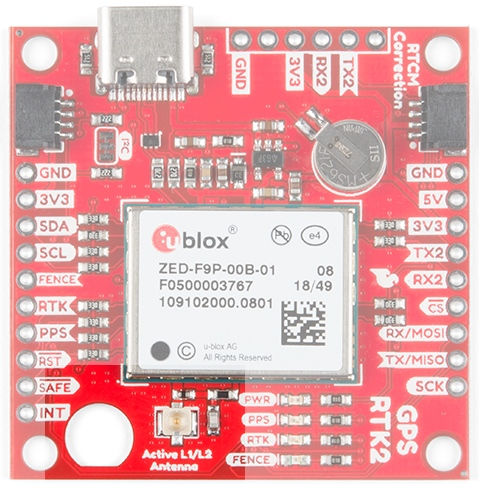 U.FL antenna connector and SMA cut-out on the SparkFun GPS-RTK2