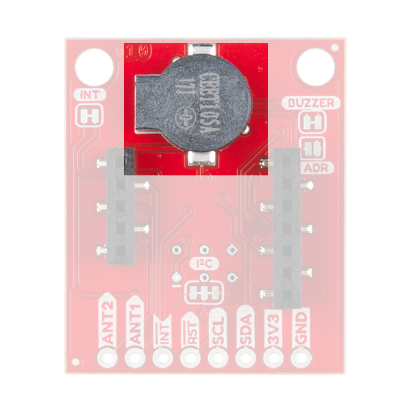 The image shows the buzzer on the side of the RFID reader