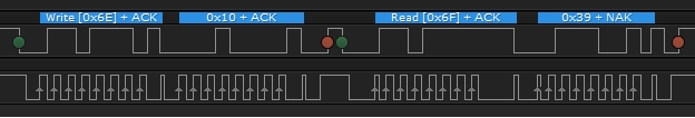 Logic trace showing 0x6E 0x10 0x6F 0x39