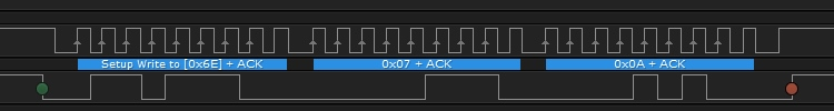 Logic trace showing 0x6E 0x07 0x0A