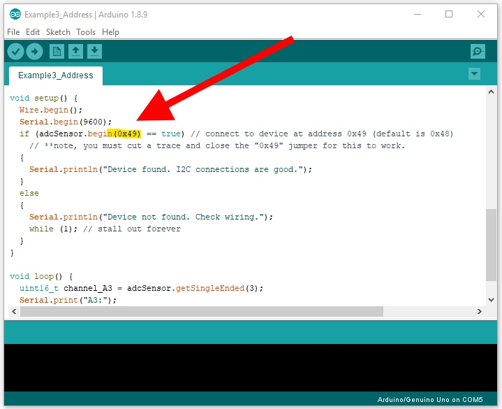 screen capture of arduino ide highlighting the special use of dot begin with address argument included