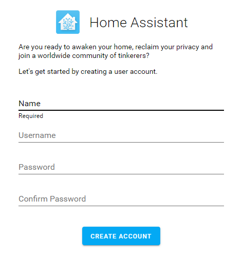 Home Assistant Account Creation