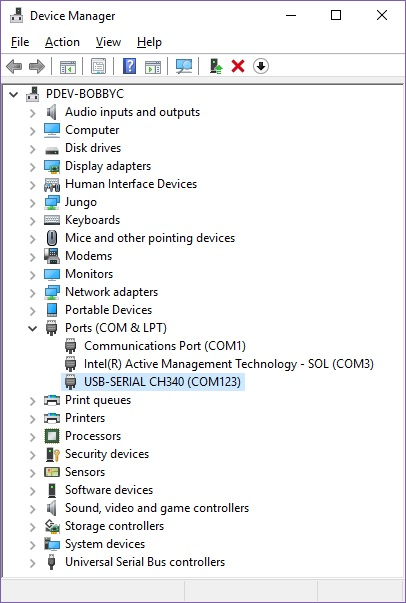 CH340 in the Device Manager