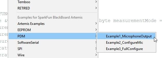 Arduino sub menu showing Artemis examples
