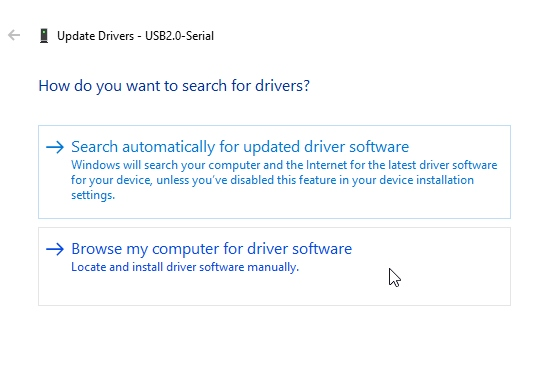 Select from available list of drivers