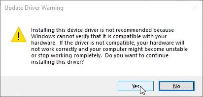 Tell windows you are sure
