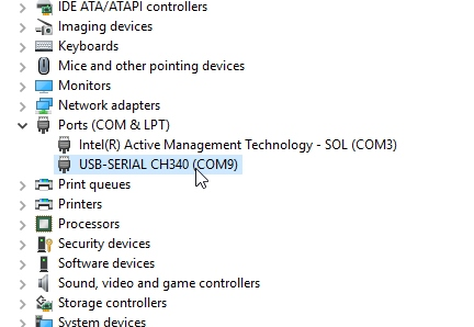 COM port is correctly listed