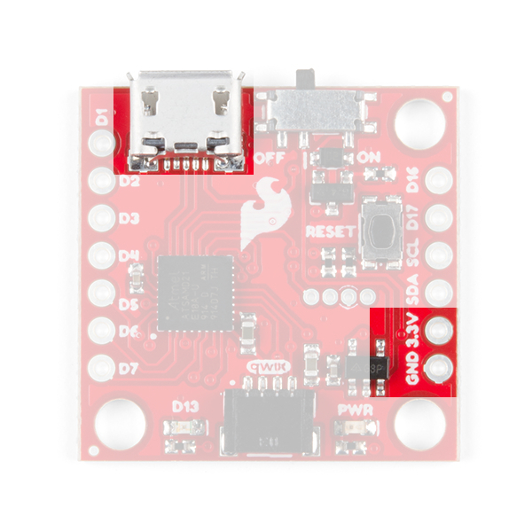 This image shows the top of the SparFun Qwiic Micro and highlights the Micro-USB connector, and the lower two pins on the right side header.
