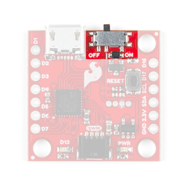 This image shows the top of the SparkFun Qwiic Micro and highlights the switch on its' top edge.