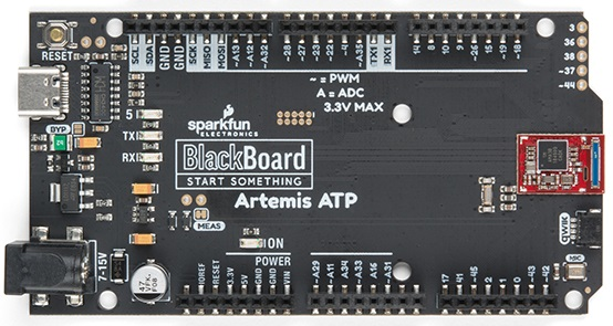 Front view of the SparkFun BlackBoard Artemis ATP