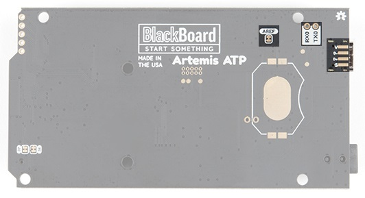 Back of BlackBoard Artemis ATP showing various SMD pads and jumpers