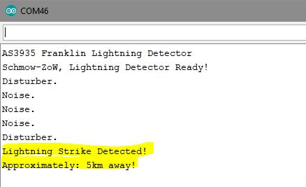 This image shows a picture of the Arduino IDE's Serial Monitor with lightning being detected printed out.