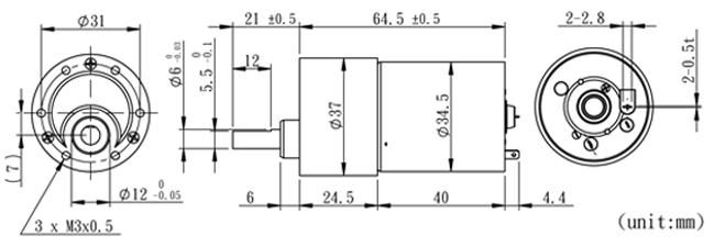 precision gearmotor - 60 rpm  6-12v
