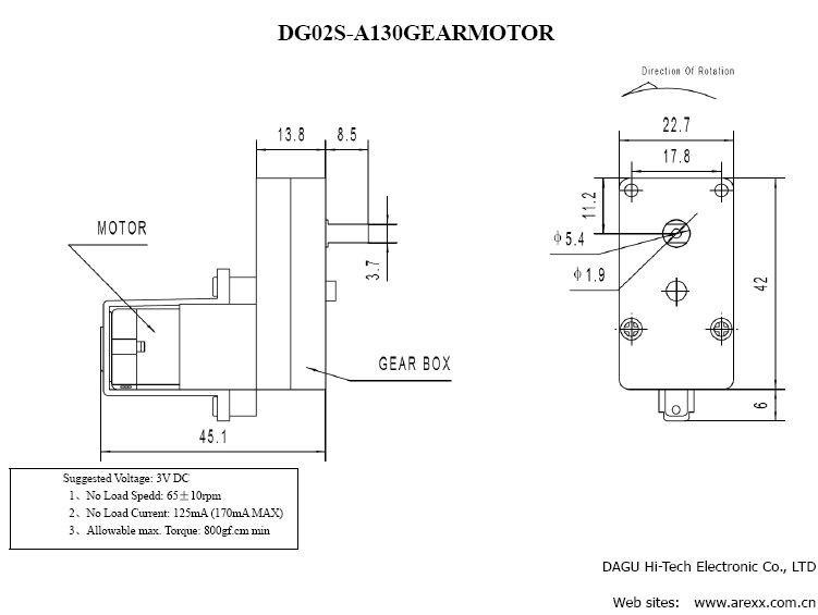 Motor dc 6v 48 1 ngulo motores robocore for 3v dc motor datasheet