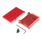 Aluminum Heatsink Case for Raspberry Pi 4 - Rhodolite Red
