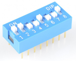 An 8-position DIP switch