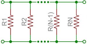 Schematic of resistors in parallel