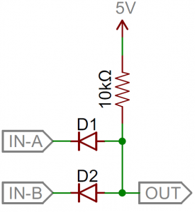 Diode 2-input AND gate schematic