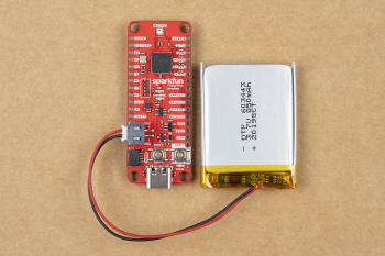 Battery connected to the SparkFun Thing Plus - RP2040