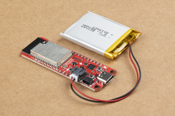 Battery connected to the ESP32-S2 Thing Plus