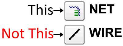 Use NET not WIRE