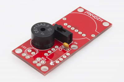 Solder in cap, switch and buzzer
