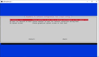 raspi-config Desktop/CLI menu