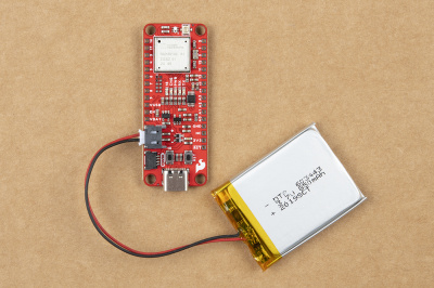 Battery connected to the SparkFun expLoRaBLE