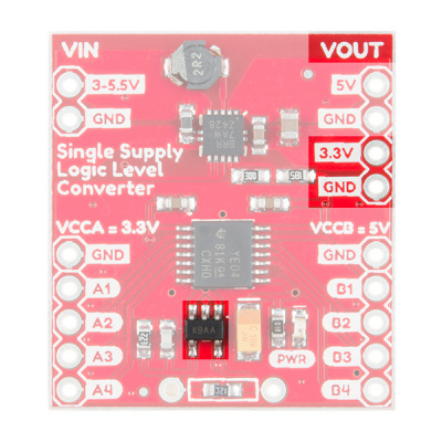 Components Highlighted on the Single Supply Logic Level Converter for Regulated 3.3V