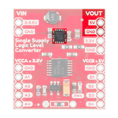 Components Highlighted on the Single Supply Logic Level Converter for a Buck/Boost Voltage of 5V